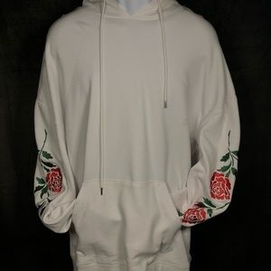 Pacsun White Pullover With Embroidered Roses